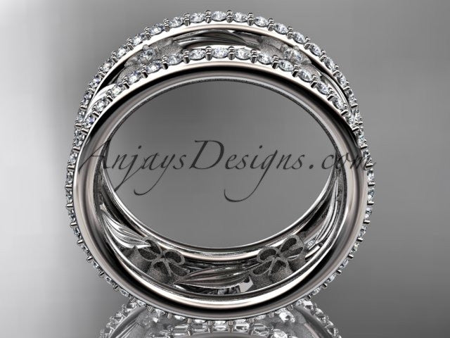 Platinum diamond flower wedding ring, engagement ring ADLR233B - AnjaysDesigns
