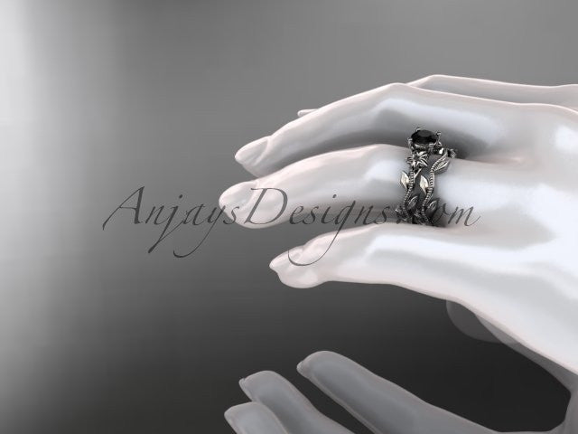 Unique 14k white gold diamond floral wedding ring, engagement set with a Black Diamond center stone ADLR238S - AnjaysDesigns
