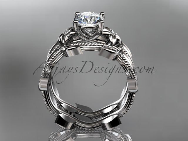 "Unique 14k white gold diamond floral wedding ring, engagement set with a ""Forever One"" Moissanite center stone ADLR238S - AnjaysDesigns"