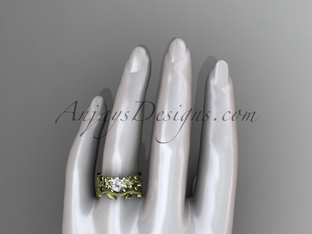 Unique 14k yellow gold diamond floral wedding ring, engagement set ADLR238S - AnjaysDesigns