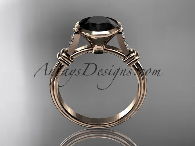 14k rose gold diamond wedding ring,engagement ring with Black Diamond center stone ADLR23 - AnjaysDesigns