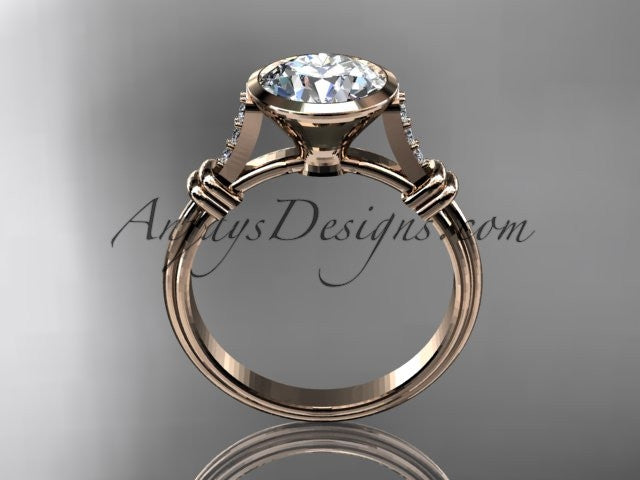 "14k rose gold diamond leaf and vine wedding ring,engagement ring with ""Forever One"" Moissanite center stone ADLR23 - AnjaysDesigns"