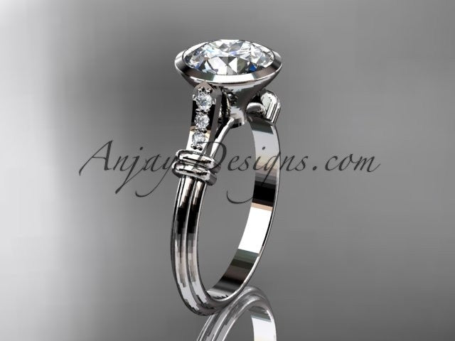 "Platinum diamond leaf and vine wedding ring,engagement ring with ""Forever One"" Moissanite center stone ADLR23 - AnjaysDesigns"