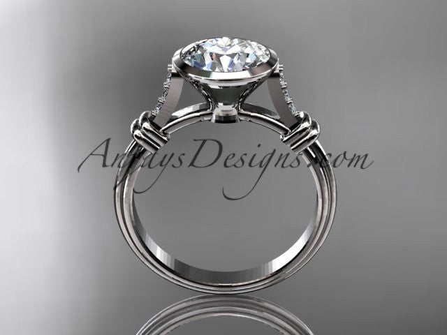 "14k white gold diamond leaf and vine wedding ring,engagement ring with ""Forever One"" Moissanite center stone ADLR23 - AnjaysDesigns"