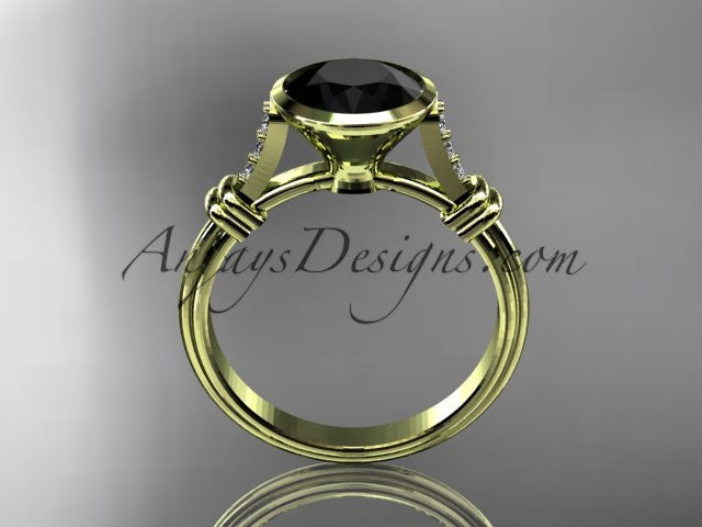 14k yellow gold diamond wedding ring,engagement ring with Black Diamond center stone ADLR23 - AnjaysDesigns