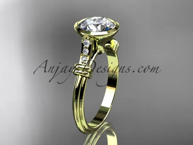 "14k yellow gold diamond leaf and vine wedding ring,engagement ring with ""Forever One"" Moissanite center stone ADLR23 - AnjaysDesigns"