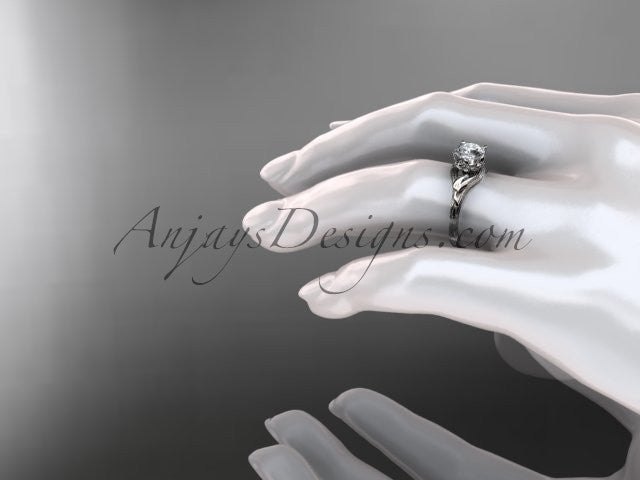 14kt white gold diamond flower, leaf and vine wedding ring, engagement ring ADLR240 - AnjaysDesigns