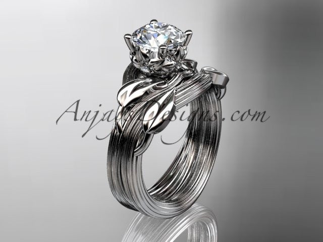 14kt white gold diamond flower, leaf and vine wedding ring, engagement set ADLR240S - AnjaysDesigns