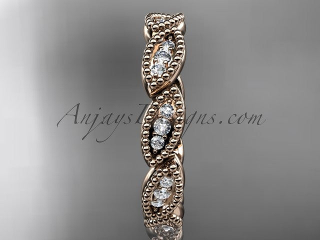 14kt rose gold diamond leaf wedding ring, nature inspired jewelry ADLR241 - AnjaysDesigns