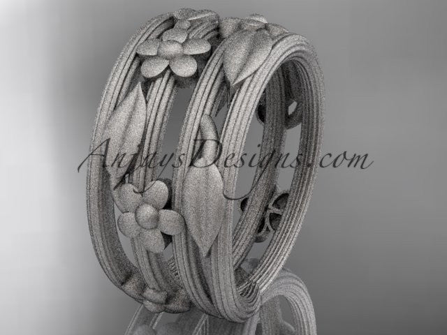 14kt white gold leaf and vine, floral wedding band, engagement ring ADLR242G - AnjaysDesigns