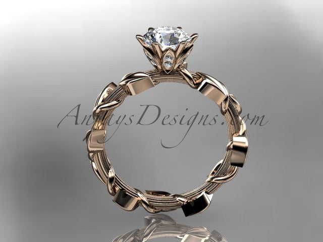 Unique 14kt rose gold diamond floral wedding ring,engagement ring ADLR248 - AnjaysDesigns