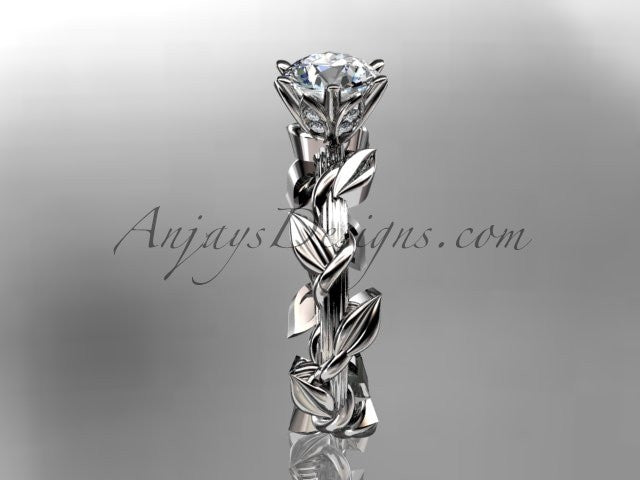 "Unique 14kt white gold diamond floral wedding ring,engagement ring with a ""Forever One"" Moissanite center stone ADLR248 - AnjaysDesigns"