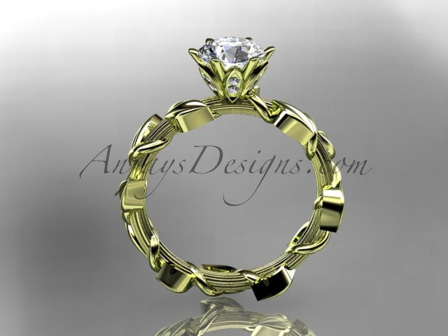 Unique 14kt yellow gold diamond floral wedding ring,engagement ring ADLR248 - AnjaysDesigns