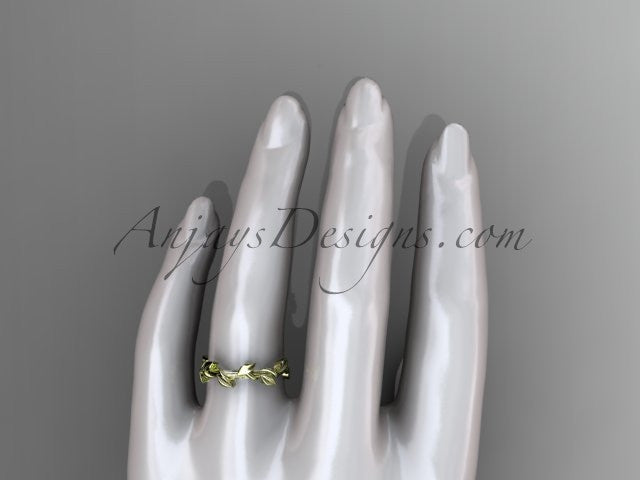 Unique 14kt yellow gold leaf and vine wedding ring ADLR248B - AnjaysDesigns