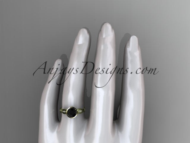14k yellow gold diamond wedding ring,engagement ring with Black Diamond center stone ADLR24 - AnjaysDesigns