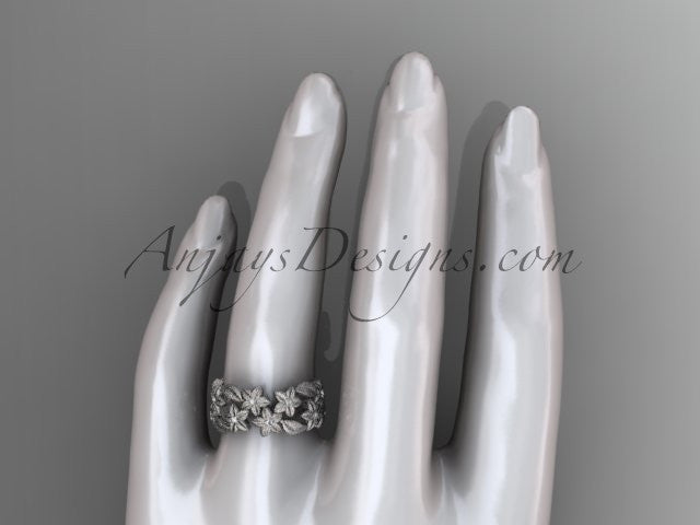 14kt white gold diamond floral, leaf and vine wedding ring,engagement ring ADLR250 - AnjaysDesigns