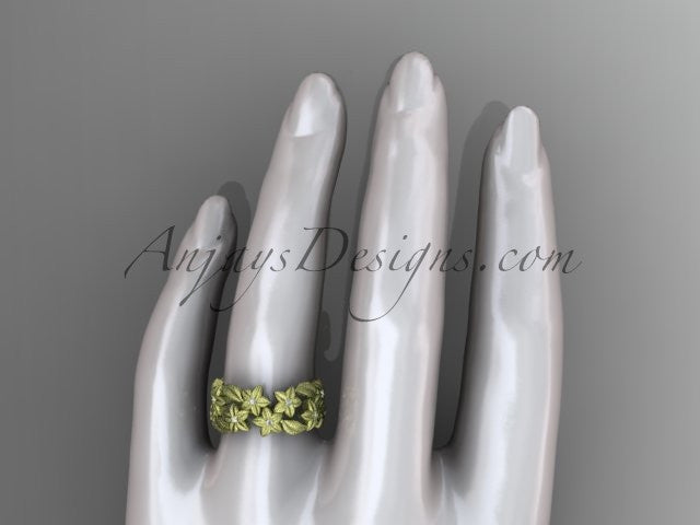 14kt yellow gold diamond floral, leaf and vine wedding ring,engagement ring ADLR250 - AnjaysDesigns