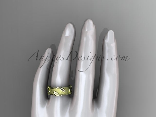 14kt yellow gold leaf and vine wedding band, engagement ring ADLR252G - AnjaysDesigns