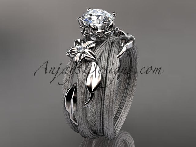 14kt white gold diamond floral, leaf and vine wedding ring, engagement set ADLR253S - AnjaysDesigns