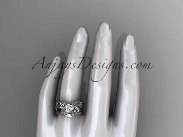 platinum diamond floral, leaf and vine wedding ring, engagement set ADLR253S - AnjaysDesigns
