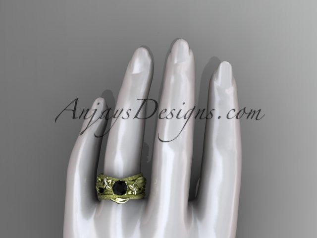 14kt yellow gold diamond floral, leaf and vine wedding ring, engagement set with a Black Diamond center stone ADLR253S - AnjaysDesigns