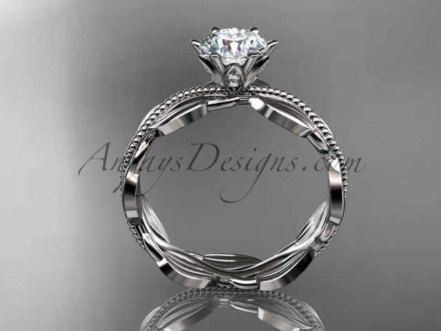 "Unique platinum leaf and vine engagement ring, wedding band with a ""Forever One"" Moissanite center stone ADLR258 - AnjaysDesigns"