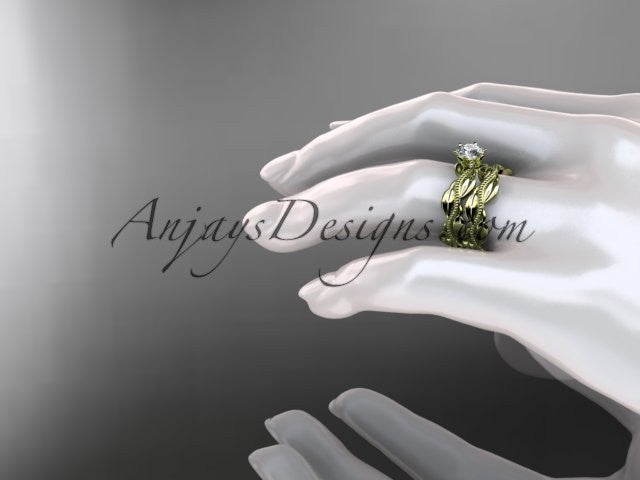 14k yellow gold leaf and vine engagement ring, wedding set ADLR258S - AnjaysDesigns