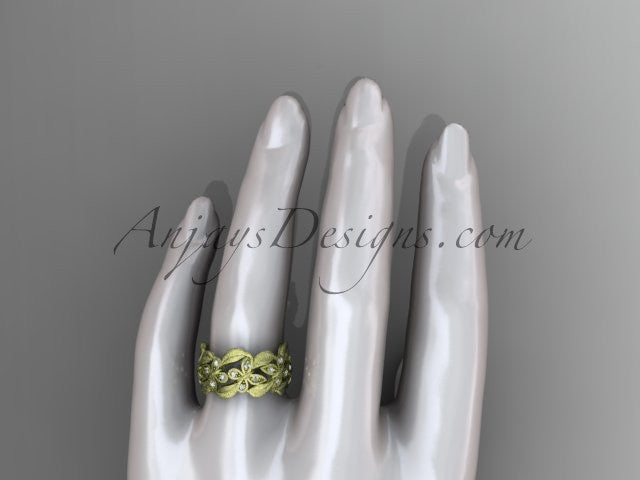 14kt yellow gold diamond butterfly, leaf and vine wedding ring, engagement ring ADLR262 - AnjaysDesigns