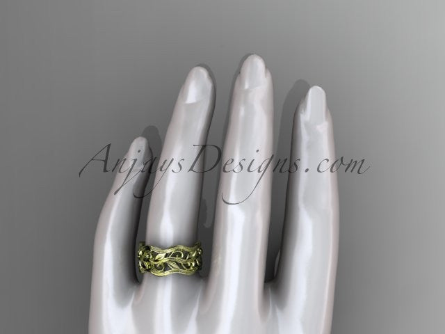 14kt yellow gold leaf and vine wedding ring, engagement ring, wedding band ADLR263 - AnjaysDesigns