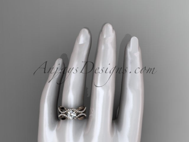 14kt rose gold diamond leaf and vine wedding set, engagement set ADLR264 - AnjaysDesigns