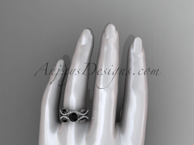 14kt white gold diamond leaf and vine wedding set, engagement set with a Black Diamond center stone ADLR264 - AnjaysDesigns