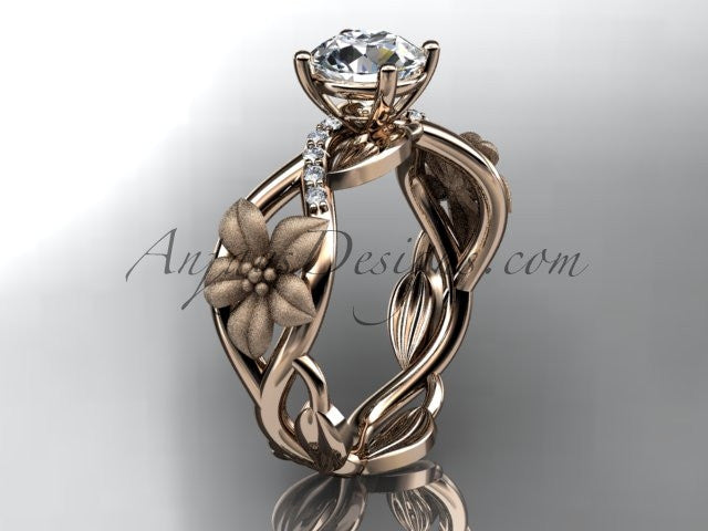 "Unique 14kt rose gold diamond floral leaf and vine wedding ring, engagement ring with a ""Forever One"" Moissanite center stone ADLR270 - AnjaysDesigns"