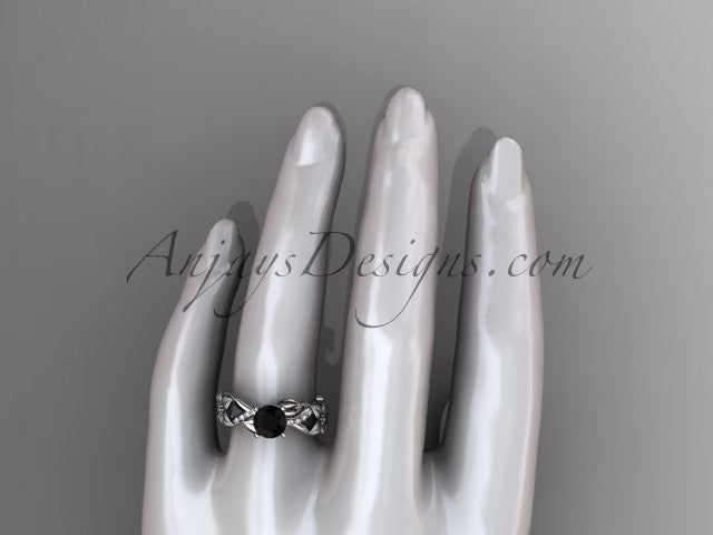 Unique 14kt white gold diamond floral leaf and vine wedding ring, engagement ring with a Black Diamond center stone ADLR270 - AnjaysDesigns