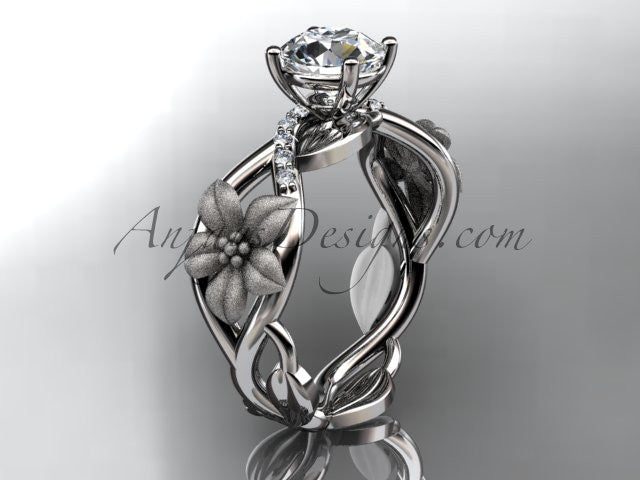 "Unique 14kt white gold diamond floral leaf and vine wedding ring, engagement ring with a ""Forever One"" Moissanite center stone ADLR270 - AnjaysDesigns"
