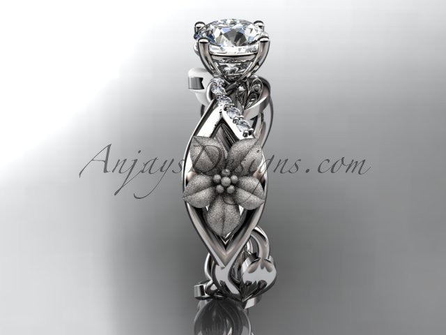 Unique 14kt white gold diamond floral leaf and vine wedding ring, engagement ring ADLR270 - AnjaysDesigns