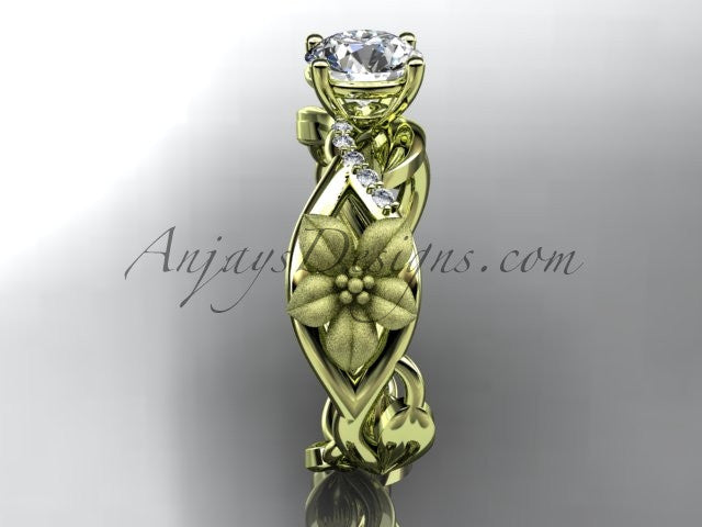 "Unique 14kt yellow gold diamond floral leaf and vine wedding ring, engagement ring with a ""Forever One"" Moissanite center stone ADLR270 - AnjaysDesigns"