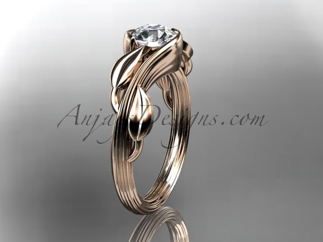 "14kt rose gold leaf and vine wedding ring, engagement ring with a ""Forever One"" Moissanite center stone ADLR273 - AnjaysDesigns"