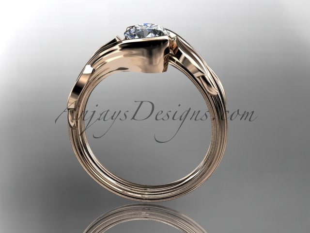 14kt rose gold leaf and vine wedding ring, engagement ring ADLR273 - AnjaysDesigns