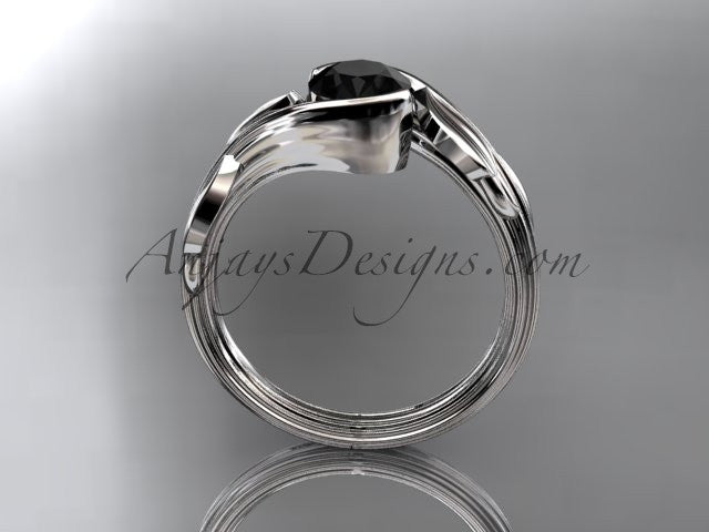 Platinum leaf and vine wedding ring, engagement ring with a Black Diamond center stone ADLR273 - AnjaysDesigns