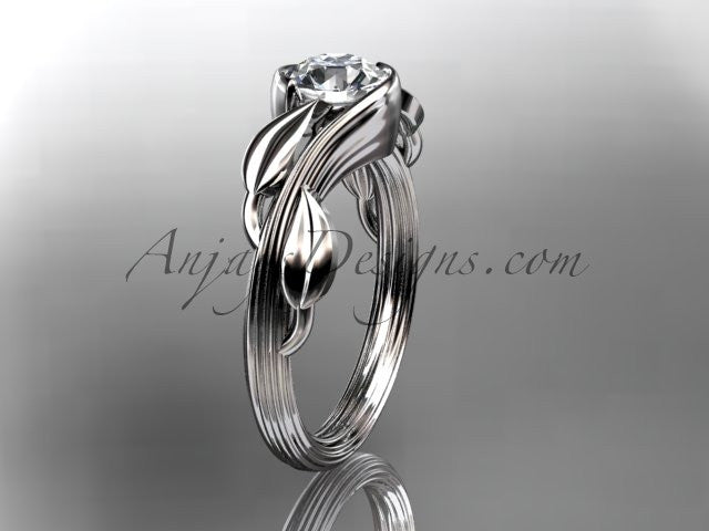 "Platinum leaf and vine wedding ring, engagement ring with a ""Forever One"" Moissanite center stone ADLR273 - AnjaysDesigns"