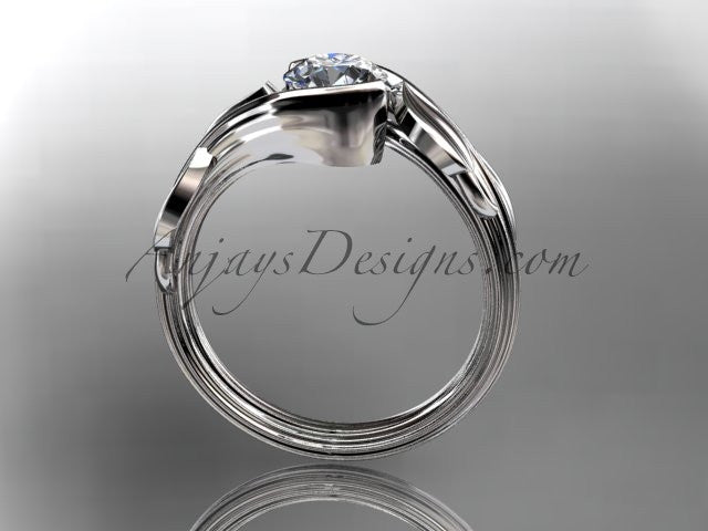 "14kt white gold leaf and vine wedding ring, engagement ring with a ""Forever One"" Moissanite center stone ADLR273 - AnjaysDesigns"