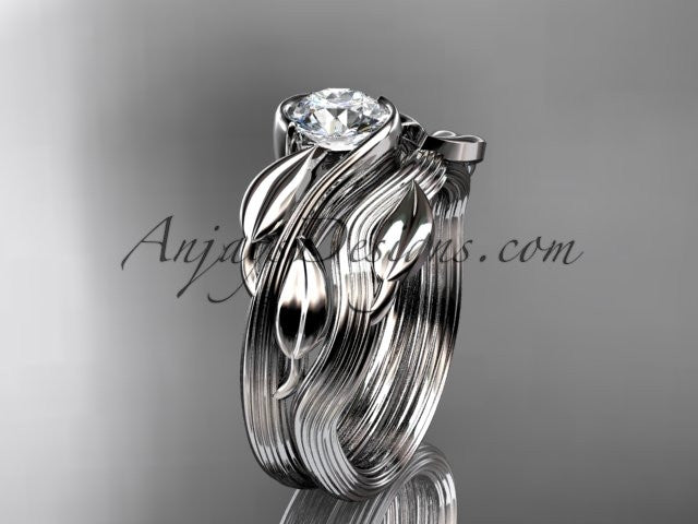 14kt white gold leaf and vine wedding ring, engagement set ADLR273S - AnjaysDesigns