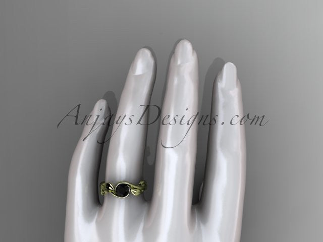 14kt yellow gold leaf and vine wedding ring, engagement ring with a Black Diamond center stone ADLR273 - AnjaysDesigns