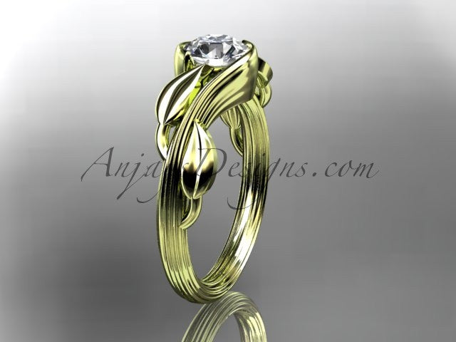 14kt yellow gold leaf and vine wedding ring, engagement ring ADLR273 - AnjaysDesigns