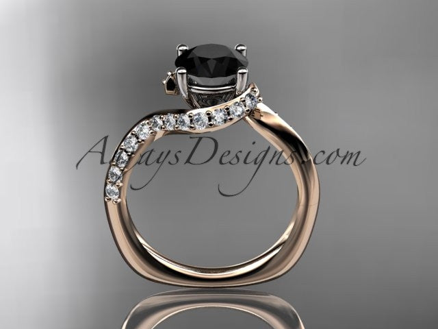Unique 14k rose gold engagement ring, wedding ring with a Black Diamond center stone ADLR277 - AnjaysDesigns