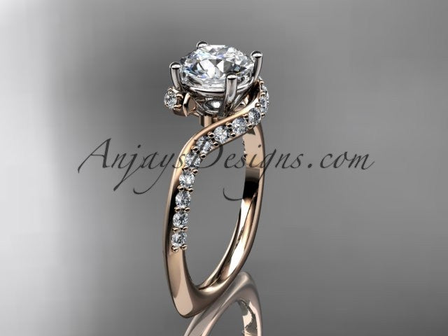 "Unique 14k rose gold engagement ring, wedding ring with a ""Forever One"" Moissanite center stone ADLR277 - AnjaysDesigns"