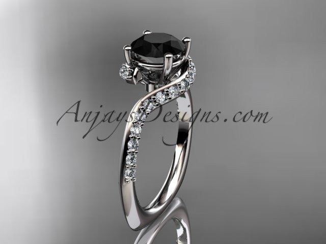 Unique 14k white gold engagement ring, wedding ring with a Black Diamond center stone ADLR277 - AnjaysDesigns
