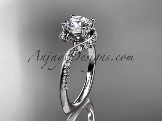 "Unique 14k white gold engagement ring, wedding ring with a ""Forever One"" Moissanite center stone ADLR277 - AnjaysDesigns"