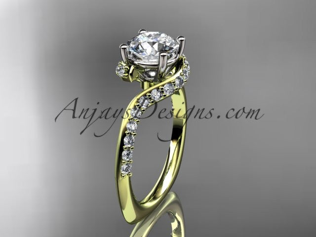 "Unique 14k yellow gold engagement ring, wedding ring with a ""Forever One"" Moissanite center stone ADLR277 - AnjaysDesigns"