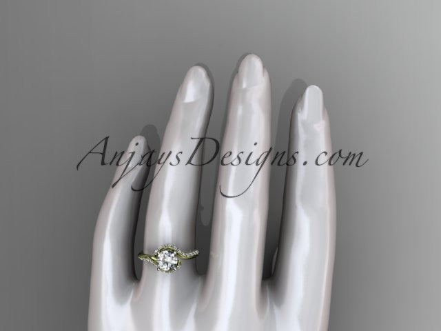 Unique 14k yellow gold engagement ring, wedding ring ADLR277 - AnjaysDesigns